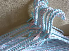 Hand Braided Coat Hangers in Pink & Blue set of 12 by diversarty