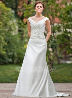 A-Line/Princess Off-the-Shoulder Chapel Train Satin Wedding Dress With Ruffle (002011775)
