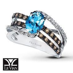 Aquamarine Ring Chocolate Diamonds® 14K Vanilla Gold™