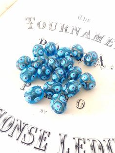 Millefiori Hand Made Aqua Blue and Gold Beads - Jewellery Supplies