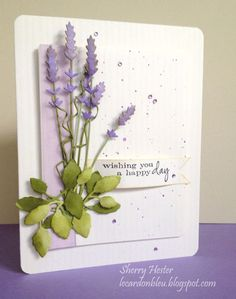 Featuring Memory Box's Long Stem Lavender die SKU 534978 and Botanical Stem die SKU 664393, available at www.addictedtorubberstamps.com