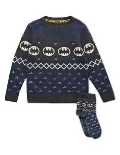 Batman™ Jumper with Socks (5-14 Years) ranging £16.00 – £19.20 at M&S swag name #Benrit #SwishList #ChristmasGiftIdeas @swagbucks