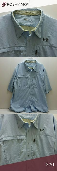 UNDER ARMOUR MEN'S SHORT SLEEVE SHIRT VERY CLEAN INSIDE-OUT   SKE # VGC Under Armour Shirts Casual Button Down Shirts