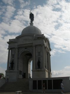 The Pennsylvania Monument at Gettysburg! Inscribed are the names of all the men from PA who fought there. It was also the inspiration for the Vietnam Memorial.