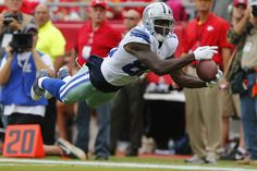 It's a bird… It's a plane…: Dez Bryant of the Dallas Cowboys makes a leaping downfield catch within the ten yard line against th...