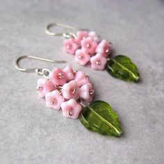 Pink Flower Earrings Sterling Silver Green Leaves British Etsy Team: ENCHANTED GARDEN