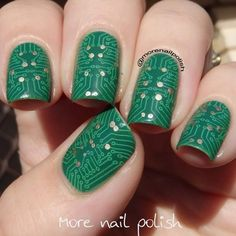 Green circuit board with gold accent stamped over green. Created by @morenailpolish  Bundle Monster stamping plate BM-415.