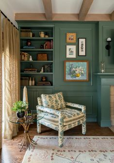 Space of the Week: A Dark, Out-of-Date Living Room Gets a Timeless Makeover | This mid-range shade of green is not only having a moment right now, but it's also part of Benjamin Moore's Historical Collection, meaning it won't go out of style. #realsimple #livingroomdecor #livingroomideas #details #homedecorinspo