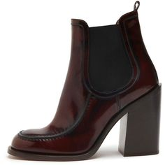 Darby Chelsea Boot Oxblood Spazzolato (6 635 SEK) ❤ liked on Polyvore featuring shoes, boots, ankle booties, chunky chelsea boots, ankle boots, high heel leather boots, chunky heel boots and short leather boots