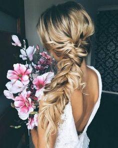 side braid + blonde long hairstyle
