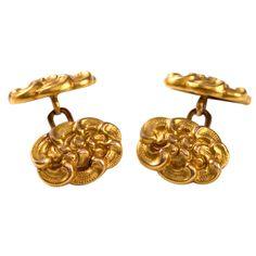 Tiffany & Co. Art Nouveau Gold Double Sided Cufflinks | 1stdibs.com