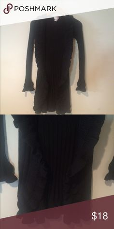 Fall staple! 🍂Black Ruffle Sweater 🍁 Good condition- cotton- fits more like a small!! Not large like tag says. ✂️Measurements: length - 33 inches. Bust- 18 inches .  💟Outfit Inspiration: any occasion:)  👰Help my fiancé and I save up for our wedding! 📦All purchases are shipped carefully and thoughtfully  🚭Smoke- free home ❗️Bundle to save on SHIPPING & TOTAL  💁Serious and reasonable offers only (no more  than 10% of listing price!)  ✅Suggested User, shop with confidence 🚫NO TRADES…