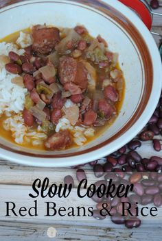 Slow cooker red beans and rice is a weeknight winner. Cajun cooking done right in the slow cooker so it's simple enough for a weeknight meal. Slow Cooker Red Beans, Crock Pot Slow Cooker, Slow Cooker Recipes, Crockpot Recipes, Real Food Recipes, Cooking Recipes, Healthy Recipes, Frugal Recipes, Yummy Recipes