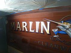 #TRANSOM: Marlin Darlin, Clearwater Florida #Boat #Transom #BoatTransom  TRANSOM #TECHNIQUE: #GoldLeaf   #BOAT #BUILDER #BoatBuilder: #SpencerYachts , #NorthCarolina