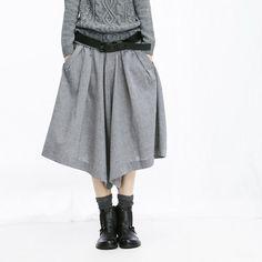 Linen Wide Skirt Pants  Gray  Women Dress by deboy2000 on Etsy, $64.99