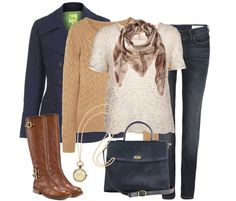 Lace Tee | Honeycomb Cable-knit Sweater | Navy Pea Coat | Pipe Skinny Jeans | Vince Camuto Boot (similar) | Vintage Coach Handbag