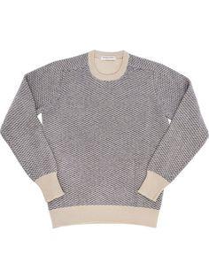 100% wool beige and denim round neck sweater