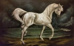 Velvet Painting Original Hand PaintedHorse on Beach by PlaceofMany