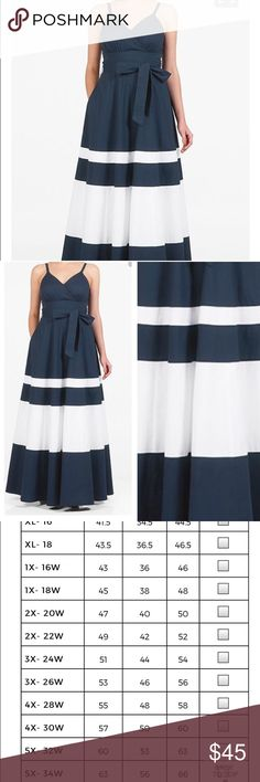 "Eshakti Dress Beautiful navy blue and white striped dress in new unworn condition. Dress is 58"" long and includes a belt. This dress does not have pockets. eshakti Dresses"