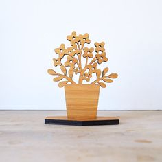 Spring Inspired Small Houseplant Wood Ornament - Style A