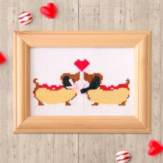 Hot Dogs Cross Stitch Pattern  Modern Cross Stitch Pattern