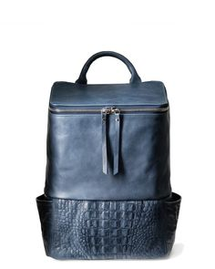 A women s luxury laptop backpack in blue leather with crocodile print 453ae46295eb8
