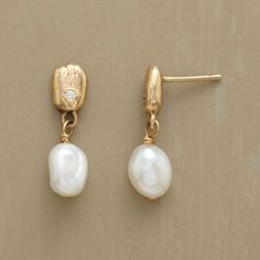 "NORTH STAR EARRINGS -- Jes MaHarry sparks 14kt gold with a tiny diamond that lights the way for the cultured pearl below. Handcrafted in USA exclusively for us. 14kt posts. 3/4""L."