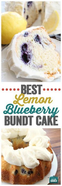The Best Lemon Blueberry Bundt Cake Ever After A Slice Of This You Can Die Happy. The Cream Cheese Lemon Frosting Is Amazing. Lemon Desserts, Lemon Recipes, Just Desserts, Baking Recipes, Sweet Recipes, Delicious Desserts, Dessert Recipes, Health Desserts, Non Dairy Desserts