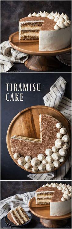 Tiramisu Cake: just like the classic Italian dessert, in layer cake form! So much rich coffee flavor, and I loved the boozy kick! food desserts cake via @bakingamoment