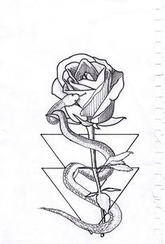 designed by Victor Turra . . . #Drawing #Sketch #Rose #Snake