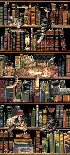 CLASSIC TALES (detail) © Charles WYSOCKI (Artist. USA, 1928-2002) Wonderful trompe l'oeil bookshelf with sleeping cats :-)  Humor, Whimsy, Book Titles.