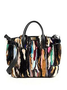 Christian Louboutin Eloise Large Studded Leather & Multicolor Mink Fur Tote