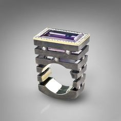 Ring | G.Kabirski. Gold, diamond, amethyst, silver