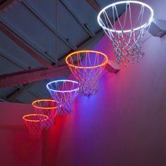 37 Zhou Wendou, Basketball Basket, installation, neon tubes, basketball basket net, aluminum plate, 45 x 60 x 45 cm, 2009