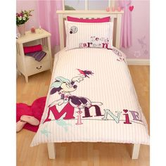 Minnie Mouse Hummingbird, Glitter Single Bedding - http://www.childrens-rooms.co.uk/minnie-mouse-hummingbird-glitter-single-bedding.html #disney #minniemouse #glitter #girlsbedding