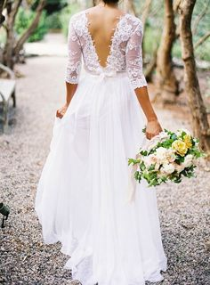 lace sleeved low back gown