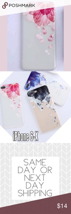 Floral Soft iPhone Case 6-X PINK ⭐️PLEASE CHOOSE CORRECT SIZE AT CHECKOUT  ➡️Discount Only With Bundle Of 2 Or More Items⬅️  Show off your iPhone while protecting it from bumps and scratches.  * High Quality Translucent Soft Shell Case * Gorgeous Painted 3D Floral Design In Multiple Colors  * Bump/ Anti Shock  * Fitted Design * New In Package  * Same Or Next Day Shipping ⭐️Post Office Drop Off Times Are 1:00pm & 5:00pm Eastern Standard Time. I will do my best to ship same day. I will message…