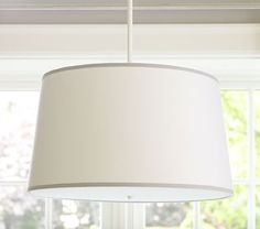 """Bedrm: $130 / 20"""" d / 60W - enough light?BUt might be nice in MBR /  White/Gray Drum Flushmount Light #pbkids"""