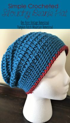Slouchy beanie hat is an easy and fun crochet project. You can whip this hat up in a few hours and give it away as a gift or save it for yourself. # crochet hats Slouchy Beanie Hat ⋆ One Acre Vintage & Pumpkin Patch Mtn. Crochet Slouchy Beanie Pattern, Beanie Pattern Free, Gilet Crochet, Crochet Hats, Slouchy Beanie Hats, Beanies, Crochet Hat For Men, Free Crochet, Beanie Knitting Patterns Free