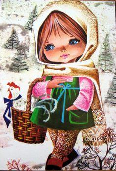 View album on Yandex. Vintage Girls, Vintage Children, Vintage Art, Illustration Noel, Illustrations, Cute Kids Pics, Cute Pictures, Vintage Greeting Cards, Vintage Postcards