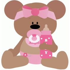 Silhouette Design Store: baby bear girl holding bottle