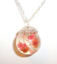 Real Babys Breath Resin Globe Orb Necklace by GardenGemsJewelry, $21.95