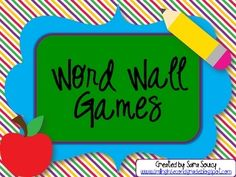 Weekly Freebie: FREE Reading Resource  Free fromSara Soucyon TpT    Word Wall Games
