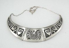 Hand made Native American Indian Jewelry; Hopi  Silver Man in a Maze Collar Necklace -  a beautiful hopi piece