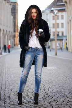 Hello #Winter Women fashion outfit style clothing jeans blue white shirts coat black boots leather winter gloves street