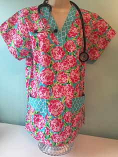 Lilly Pulitzer inspired / scrub top/ made to order