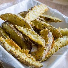 Potatoes, 1/2 Stick Melted Butter, 1/2 Cup Parmesan Cheese, 1/2 teaspoon salt, 1 teaspoon oregano, 1 teaspoon garlic powder