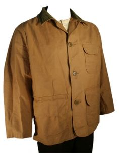 Corduroy collar mens hunting jacket. It has generous pockets including game pockets. There is a shell holder inside of one pocket.