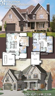 Architectural Designs Home Plan gives you 4 bedrooms, baths and - Home & DIY Sims House Plans, Family House Plans, New House Plans, Country House Plans, House Floor Plans, Sims House Design, Traditional House Plans, House Blueprints, Dream Home Design