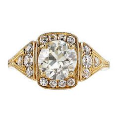 1.56 Carat Old European Cut Diamond Gold Engagement Ring